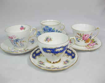 Bone China Tea Cups, Instant Collection, set of 4 Assorted English China Tea Cups and Saucers