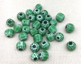 24 Vintage Green Chevron Glass Beads