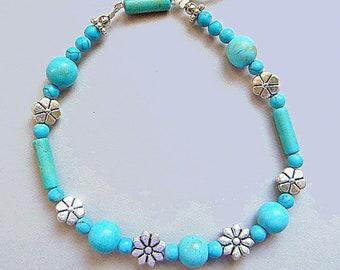 Turquoise & Bali Silver Flex Bangle
