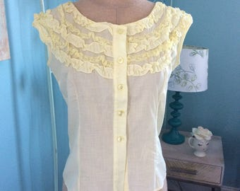 Prince Charmers Summer Yellow Ruffled Cotton Blouse
