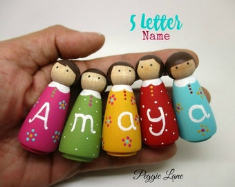 Peg dolls, Nursery Decor, personalised Peg dolls, Christmas Gift, Stocking Filler, dolls with a five letter name, Name Dolls