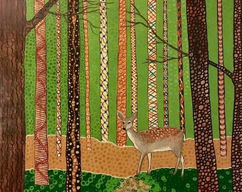"Deer Painting Original Painting Trees Nature Green Brown 16"" x 20"" Plank"