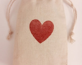 With Love Heart Muslin Favor Bags, Set of 10 (3x5 shown)