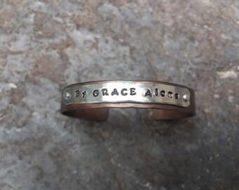 By GRACE alone customizable copper bracelet