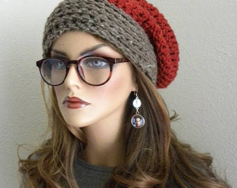 Slouchy Beanie, Knit Hat, Bohemian Chic, Hand Crocheted, Rust Orange,Slouchy Hat, Hippy Hat, Winter hat, Accessories, Teens Fashion
