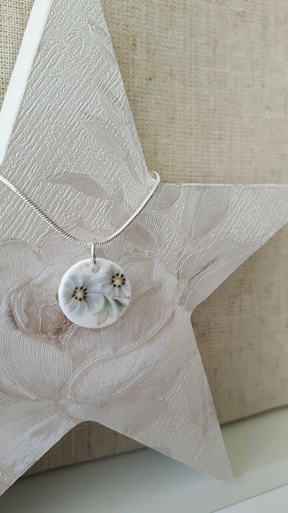 Broken china vintage porcelain pendant.  Silver snake chain.  Unusual pendant.  Floral pendant.  Handmade in Wales UK.