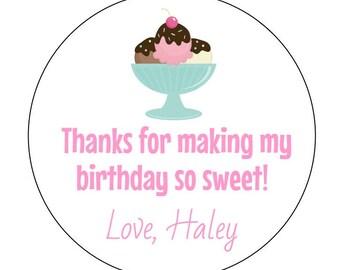 12 Ice Cream Sundae Stickers, Summer Birthday, Ice Cream Party, Ice Cream, Sweet Stickers, Ice Cream Labels, Birthday Stickers, Baby Shower