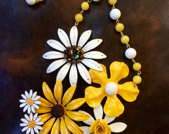 Sunny Enamel Flower Assemblage Necklace