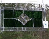 Stained glass panel - stained glass valance, window decor, varied green glass, beveled glass, housewarming gift, new home, Victorian decor