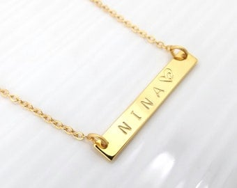 Gold Bar Initial Necklace • Gold Name Necklace •  Personalized Mom• Bridesmaid Gift• Personalized Bridesmaid Necklace• Wedding Jewelry