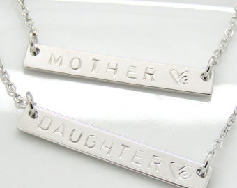 Mother Daughter Necklace•Mother Daughter Gift Set•Mommy and Me• 2 Custom Necklaces•Daughter Gift • Mother's Day Gift• Set of 2 Bar Necklaces