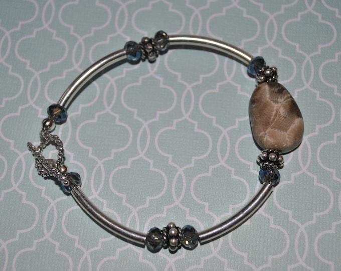 Petoskey Stone Bracelet with sterling silver tube beads , Up North Michigan bracelet, fossil bracelet