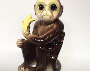 Vintage Mid Century Retro Ceramic Monkey with Banana, Made in Japan