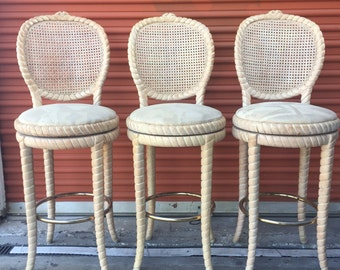 Vintage Set of 3 Carved Rope Swivel Barstools