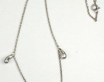 Stunning sterling silver Elsa Peretti Tiffany & Co 3 teardrop tear drop necklace