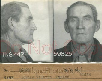 Arrested old man criminal antique police mug shot photo