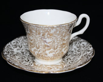 Gold Filigree Flowered Bone China Tea Cup & Saucer Made in England 1950's