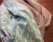 Large Baby Blanket, Swaddle, Receiving Blanket, Llamas, Alpacas, Blue, Grey, Polka Dots, Reversible, OOAK, Baby Shower Gift