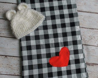 Swadde Blanket, Large Baby Blanket, Buffalo Plaid, Heart, Photography Prop, Black, White, Red, Recieving Blanket, OOAK, Baby Shower Gift