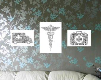 Medical Profession Personalised Word Art Print. FREE UK P&P. Digital word art collage, Word Cloud Art,