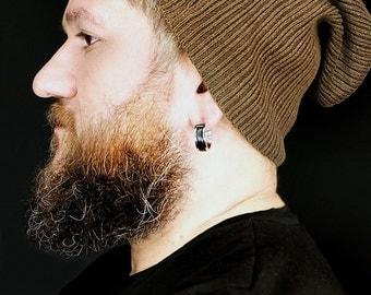 Mens Earrings Hoop Large Huggie Hoop Earrings For Men Leather Earrings Gift For Him Unique Earrings Mens Jewelry Large Black Earrings
