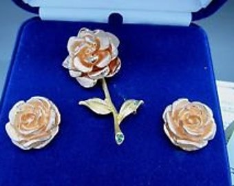 Jackie Kennedy Rose Set - 24K GP Pin and Earrings with Box and Certificate