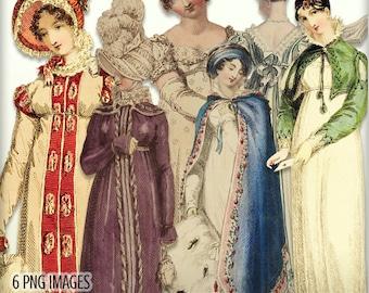 Jane Austen Era Elements Kit - Regency Fashion Ladies - Regency Images - Regency Era Elements - Digital Clipart Embellishments - Jane Austen