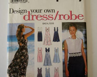 Simplicity 9107 Sewing Pattern Sleeveless Dress Empire Waist Flared Straight Design Your Own Dress Size 6 8 10 UNCUT