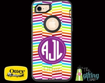 Monogrammed OtterBox Defender Case iPhone 7/7 Plus, 6/6S, iPhone 6/6S Plus, 5/5S/SE/5C, iPod Touch 5/6, Galaxy S7/S6/S5/S4/Note 5/4, Rainbow