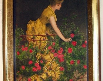 Victorian Girl In Garden Of Pink Climbing Roses Antique Original Hand Painted Etching Picture Print Gold Frame