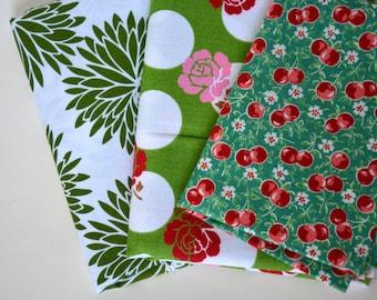 Destash: Green floral fabric bundle