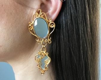Signed CHANTAL THOMASS mirror chandelier earrings | designer RARE costume jewelry