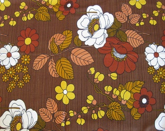 brown flowery fabric by the yard, French retro print  fabric in fall colors