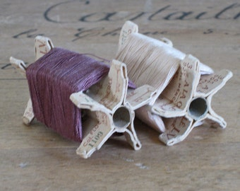 French thread card reels with brown and  ecru threads -  vintage haberdashery supplies