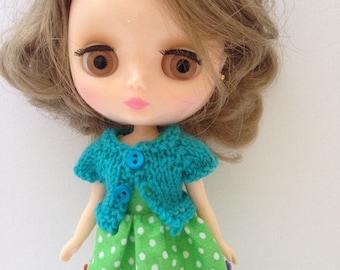 Midde Blythe Tokissi Bunny Doll Green Polkadot Dress with Matching Blue Short Sleeve Cardy