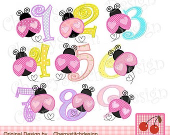 "Ladybug Numbers 1-9 Machine Embroidery Design Applique  -approximate 4x4"" 5x5"" and 6x6"""