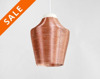Copper braided lamp, pendant see through, lamp hanging light, kitchen lamp table light - warm lamp atmosphere - red copper glow light cosy