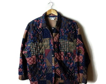 Vintage floral/multi pattern patchwork Light Quilted Jacket from 80's*