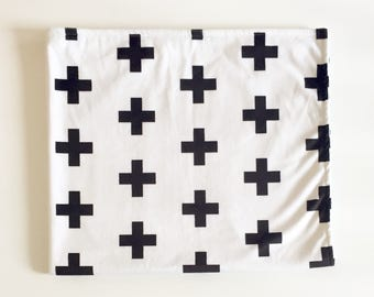 Black and white plus baby blanket - faux fur minky - gender neutral - swiss cross monochrome monochromatic nursery - baby shower gift