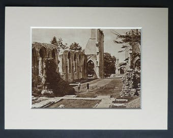 1930s Antique Glastonbury Abbey Print, Sepia Decor, Available Framed, Somerset Art, Old Church Photography Gift, Monastery Ruins Picture