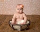 Peach baby headband,Chiffon Peach Flower headband ,Girl peach headband