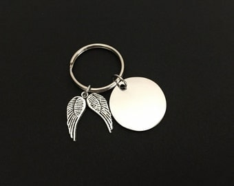 Personalized Angel Wings Key Chain. Customized Stainless Steel Tag. Name Key Chain. Remembrance Key Chain. Memorial Key Chain. Memory Gift.