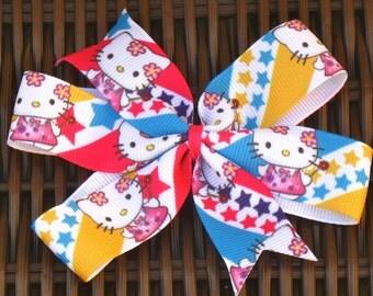 Kitty Hair Bows - My Kitty  Accessories - Hi Kitty 4 Inch Grosgrain Hair Bow - Hi Kitty Party/Party Favor Bows - Kitty Bows - BowBravo