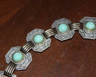 Vintage 1950's Southwestern Style Aluminum Panel / Link Bracelet