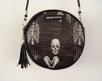 Anatomical Skeleton Black Round Handbag - Bag Clutch Ribs Skull Medical Doctor Nurse Horror