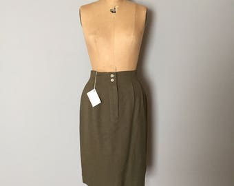 moss green linen skirt | pin tucked waist pencil skirt