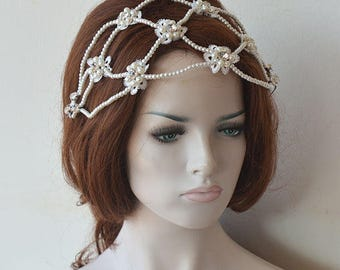 Bridal Pearl Headband, Wedding Headpiece, Pearl Wedding, Headband, Hair Piece, Bridal Hair Jewelry