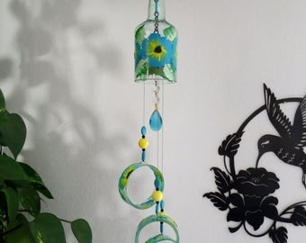 Glass Wind Chime, Recycled wine bottle wind chime, Flowers, Turquoise, Yellow, Sun catcher, yard art, tinted glass, House warming gift
