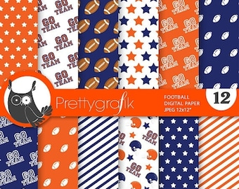 80% OFF SALE Football digital paper, commercial use, scrapbook papers, background chevron, stripes, sports, team - PS740