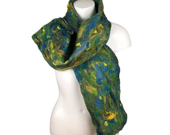 Wet felted scarf in blue, green and yellow